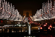 Paris, France. December 19th 2005..View of the Champs Elysées and the Arc de Triomphe from the Place de la Concorde.