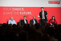 © Licensed to London News Pictures . 25/07/2015 . Warrington , UK . JEREMY CORBYN , YVETTE COOPER , ANDY BURNHAM and LIZ KENDALL after the Labour Party leadership hustings at Parr Hall in Warrington . Photo credit : Joel Goodman/LNP