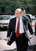 Federal Reserve Chairman Alan Greenspan enters the Rayburn office building to testify in the House Banking Committee May 20, 1999 in Washington, DC.