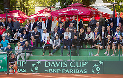 Sponsors during Davis Cup Slovenia vs. South Africa on September 13, 2013 in Tivoli park, Ljubljana, Slovenia. (Photo by Vid Ponikvar / Sportida.com)