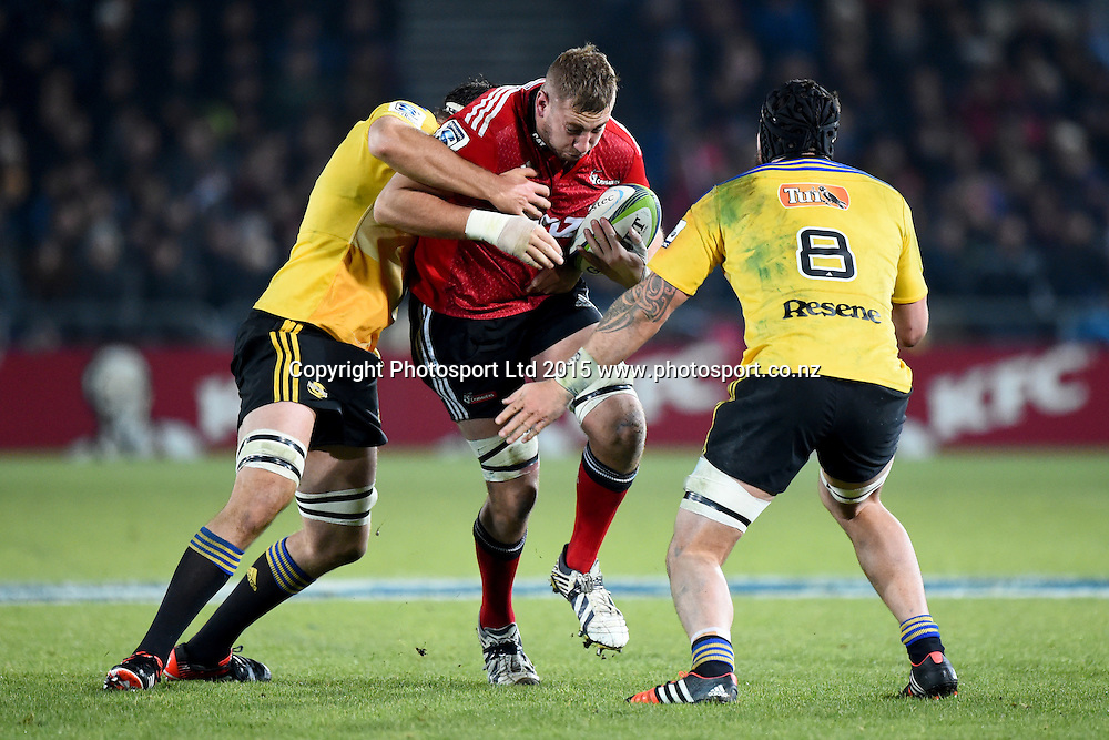 Crusaders player Luke Romano during their Investec Super Rugby game Crusaders v Hurricanes. Trafalgar Park, Nelson, New Zealand. Friday 29 May 2015. Copyright Photo: Chris Symes / www.photosport.co.nz