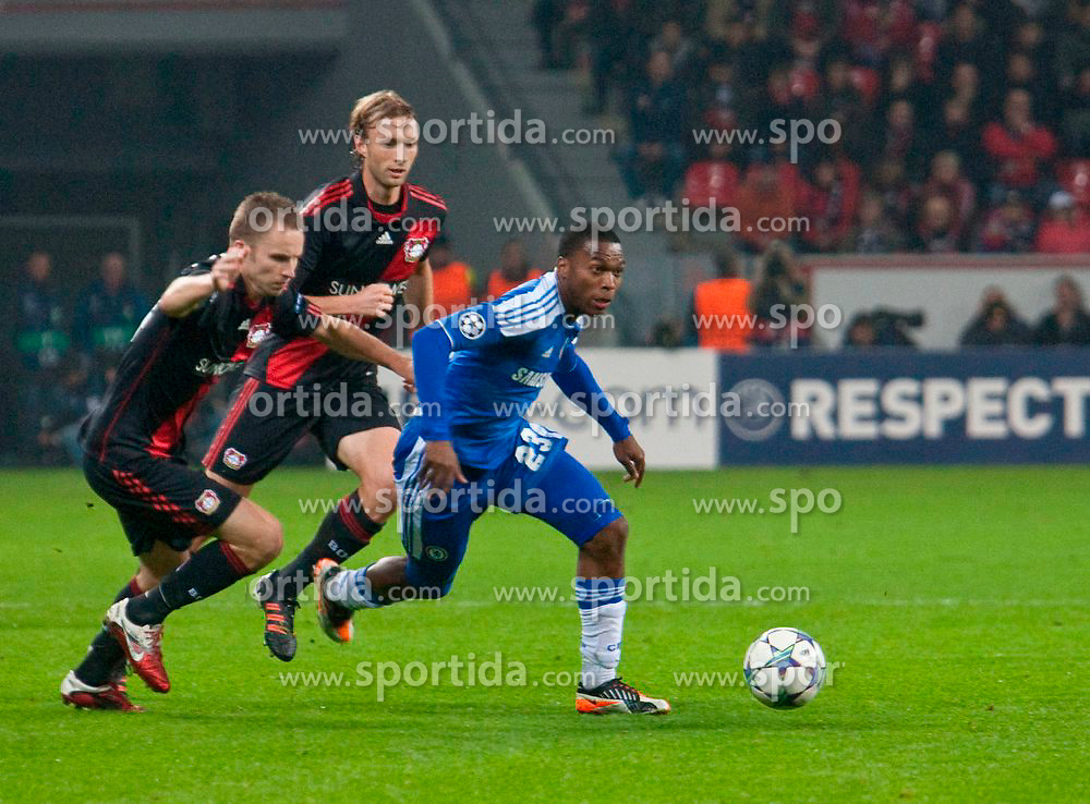 23.11.2011, BayArena, Leverkusen, Germany, UEFA CL, Gruppe E, Bayer 04 Leverkusen (GER) vs Chelsea FC (ENG), im Bild Chelsea's Daniel Sturridge in action against Bayer Leverkusen during the football match of UEFA Champions league, group E, between Bayer Leverkusen (GER) and FC Chelsea (ENG) at BayArena, Leverkusen, Germany on 2011/11/23. EXPA Pictures © 2011, PhotoCredit: EXPA/ Sportida/ David Tickle..***** ATTENTION - OUT OF ENG, GBR, UK *****