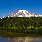 Reflection Lakes at Mt. Rainier on a rare sunny and cloudless day.