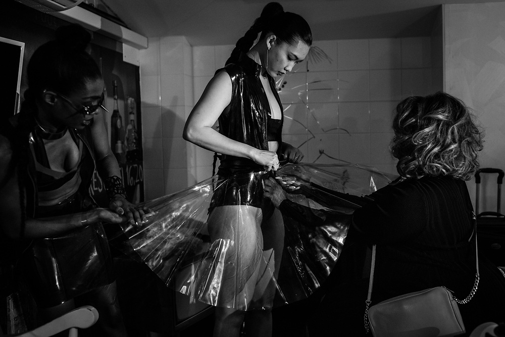 Models take part in a presentation for NØIR, a new line by Stevie Boi at Hotel Le Pavillon during Fashion Week on March 6, 2017 in Paris, France.