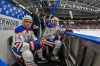 PENTICTON, CANADA - SEPTEMBER 17: Thomas Foster #64 and Carson Stadnyk #60 of Edmonton Oilers sit on the bench against the Calgary Flames on September 17, 2016 at the South Okanagan Event Centre in Penticton, British Columbia, Canada.  (Photo by Marissa Baecker/Shoot the Breeze)  *** Local Caption *** Thomas Foster; Carson Stadnyk;