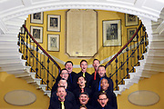 © Licensed to London News Pictures. 11/09/2013. London, UK London Gay Men Chorus perform on the staircase of Admiltary House. The Deputy Prime Minister, Nick Clegg, hosts a reception at Admiralty House in Whitehall this evening, 11 September 2013, to celebrate the government's progress in equal marriage. From next year gay people will be able to get married. A number of high profile guests including openly supportive celebrities, campaigners, religious figures and charities were in attendance.<br /> The London Gay Men Chorus Ensemble performed at the event. . Photo credit : Stephen Simpson/LNP