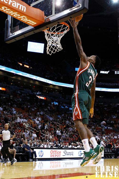 22 January 2012: Milwaukee Bucks point guard Brandon Jennings (3) goes for the layup on a fast break during the Milwaukee Bucks 91-82 victory over the Miami Heat at the AmericanAirlines Arena, Miami, Florida, USA.