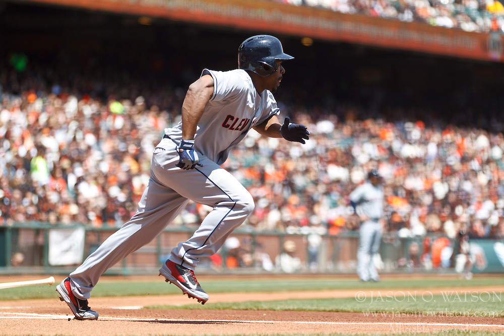 SAN FRANCISCO, CA - APRIL 26:  Michael Bourn #24 of the Cleveland Indians hits a double against the San Francisco Giants during the first inning at AT&T Park on April 26, 2014 in San Francisco, California. The San Francisco Giants defeated the Cleveland Indians 5-3.  (Photo by Jason O. Watson/Getty Images) *** Local Caption *** Michael Bourn