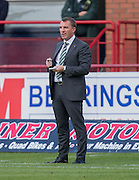 Celtic boss Brendan Rogers takes notes - Dundee v Celtic in the Ladbrokes Scottish Premiership at Dens Park, Dundee. Photo: David Young<br /> <br />  - &copy; David Young - www.davidyoungphoto.co.uk - email: davidyoungphoto@gmail.com