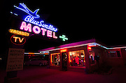 Historic Blue Swallow Motel in Tucumcari, New Mexico. This vintage roadside icon has been recently restored and caters to those seeking the classic Route 66 road trip experince.