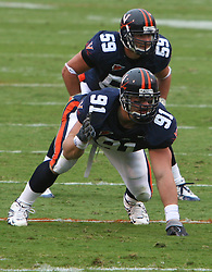 Virginia defensive end Chris Long (91) sets on defense.  The Virginia Cavaliers defeated the Duke University Blue Devils 38-7 on September 24, 2005 at Scott Stadium in Charlottesville, VA.