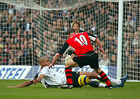 Fotball<br /> Premier League England 2004/2005<br /> Foto: BPI/Digitalsport<br /> NORWAY ONLY<br /> <br /> Fulham v Blackburn Rovers<br /> 27/11/2004<br /> <br /> Fulham's Zat Knight handles the ball in the area to award Blackburn a peanlty and himself a second yellow card.