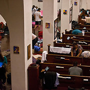 Dreamers rest at a church in preparation for their trip to the Capitol to protest in support of immigration reform at Speaker John Boehner's office.