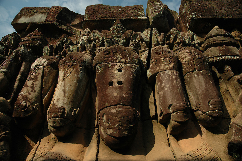This image of a horse with 5 heads was shot at the famous Terrace of Elephants at the Angkor Thom city in the Angkor temple complex in Siem Reap, Cambodia. <br />