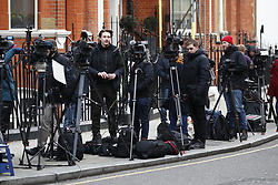 © Licensed to London News Pictures. 06/02/2018. London, UK. Media gather outside the Ecuadorian Embassy as WikiLeaks founder JULIAN ASSANG awaits  a court ruling on his arrest warrant. The Australian and Ecuadoran national skipped bail to enter the embassy in 2012 in order to avoid extradition to Sweden over allegations of sexual assault and rape, which he denies. Photo credit: Peter Macdiarmid/LNP