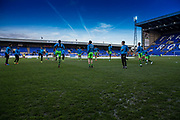 Forest Green players warm up during the Vanarama National League match between Tranmere Rovers and Forest Green Rovers at Prenton Park, Birkenhead, England on 11 April 2017. Photo by Shane Healey.