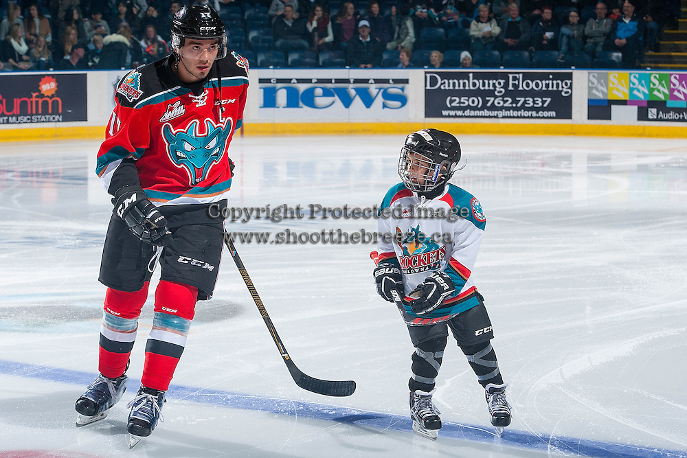 KELOWNA, CANADA - OCTOBER 14: The Pepsi Save On Foods Player of the Game skates with the starting line up against the Saskatoon Blades on October 14, 2016 at Prospera Place in Kelowna, British Columbia, Canada.  (Photo by Marissa Baecker/Shoot the Breeze)  *** Local Caption *** Pepsi Player;