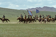 Mongolia. Mr. Baljiniam shooting Gengis Khan movie;, Battle scenes, and the army on the march.    Underchirit