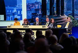 Edinburgh, Scotland, UK. 27 April, 2019. SNP ( Scottish National Party) Spring Conference takes place at the EICC ( Edinburgh International Conference Centre) in Edinburgh. SNP panel during welcome address.