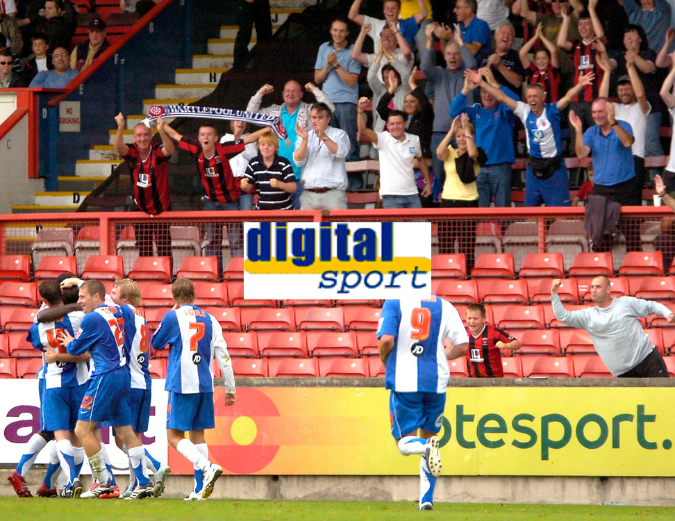 Photo: Ed Godden/Sportsbeat Images.<br /> Leyton Orient v Hartlepool United. Coca Cola League 1. 22/09/2007. Hartlepool players celebrate their 2nd goal in front of their travelling fans.
