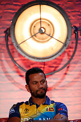 Sri Lanka's Dimuth Karunaratne during the Cricket World Cup captain's launch event at The Film Shed, London.