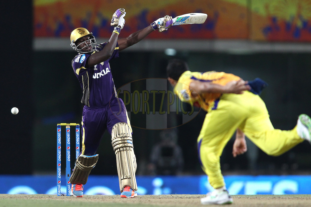 Andre Russell of the Kolkata Knight Riders plays and misses a Mohit Sharma of The Chennai Super Kings delivery during match 21 of the Pepsi Indian Premier League Season 2014 between the Chennai Superkings and the Kolkata Knight Riders  held at the JSCA International Cricket Stadium, Ranch, India on the 2nd May  2014<br /> <br /> Photo by Shaun Roy / IPL / SPORTZPICS<br /> <br /> <br /> <br /> Image use subject to terms and conditions which can be found here:  http://sportzpics.photoshelter.com/gallery/Pepsi-IPL-Image-terms-and-conditions/G00004VW1IVJ.gB0/C0000TScjhBM6ikg