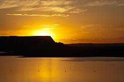 Lake Powell, Arizona/Utah: Sunrise at Wahweap Marina.