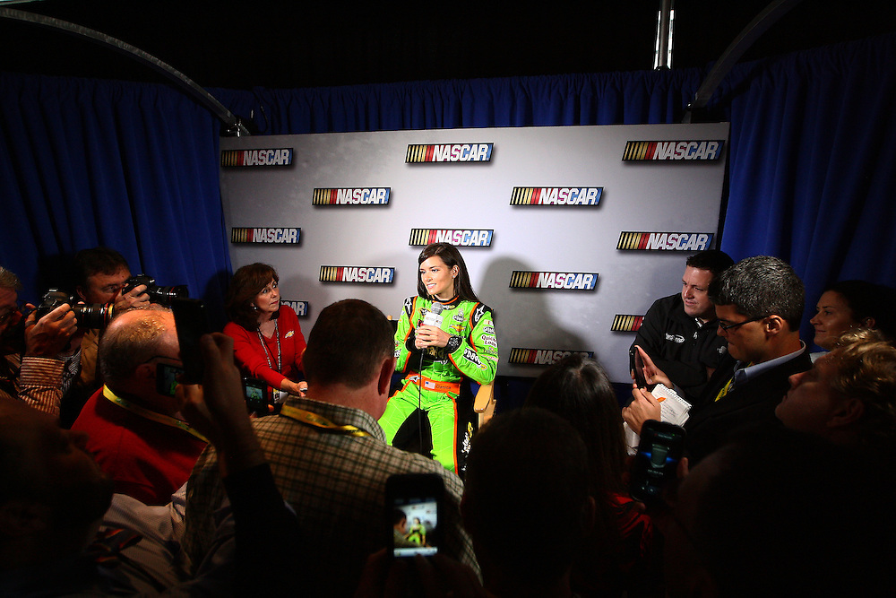 Feb 14, 2013; Daytona Beach, FL, USA; NASCAR Sprint Cup Series driver Danica Patrick addresses the media during Daytona 500 media day at Daytona International Speedway.