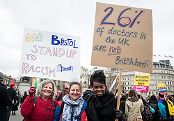 © Licensed to London News Pictures. 19/03/2016. London, UK. Protesters gather in Trafalgar Square at the end of the demonstration. Thousands march through central London on UN anti-racism day to demand that the British government accept a greater share of refugees seeking asylum in Europe. Photo credit : Rob Pinney/LNP