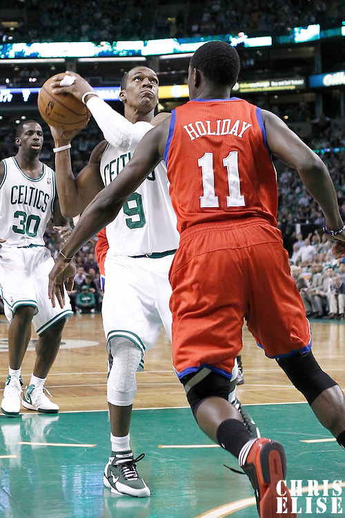 12 May 2012: Boston Celtics point guard Rajon Rondo (9) goes for the layup during the Boston Celtics 92-91 victory over the Philadelphia Sixers, in Game 1 of the Eastern Conference semifinals playoff series, at the TD Banknorth Garden, Boston, Massachusetts, USA.