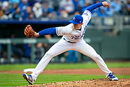 March 29, 2018 - Kansas City, MO, U.S. - KANSAS Kansas City, MO - MARCH 29: Kansas City Royals pitches during the major league opening day game against the Chicago White Sox on March 29, 2018 at Kauffman Stadium in Kansas City, Missouri. (Photo by William Purnell/Icon Sportswire) (Credit Image: © William Purnell/Icon SMI via ZUMA Press)