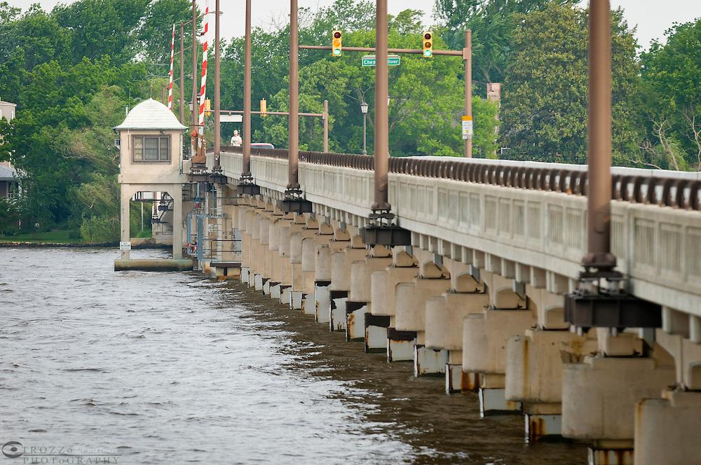 Chester River drawbridge, Chesapeake Bay, Chester, Maryland, United States of America, North America.