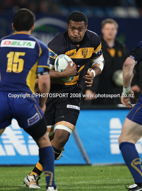 Taiasina Tuifua on the charge.<br /> Air NZ Cup, Otago v Taranaki, Carisbrook, Dunedin, Friday 19 September 2008. Photo: Rob Jefferies/PHOTOSPORT