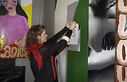 Claudia Langton putting up Wet Paint sign. An exhibition of collaborative paintings by James Jessop and Stella Vine.  This way up gallery 1st floor Dragon Bar 5 leonard street London EC2.  Decembe 8  2005.ONE TIME USE ONLY - DO NOT ARCHIVE  © Copyright Photograph by Dafydd Jones 66 Stockwell Park Rd. London SW9 0DA Tel 020 7733 0108 www.dafjones.com