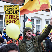 London,UK, 25th January 2015 : Demonstration the fourth anniversary Egyptian Revolution 'Muslim Brotherhood's' continue anti-coup Sisi's regime and the killing of Shaima El Sabbagh and Sondos Reda Abu Bakr age 15 yesterday in Egypt protest in London. Photo by See Li