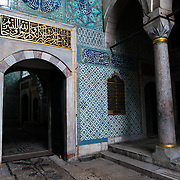 The corridor outside the main entrance of the Harem, separating the living quarters of the family, concubines, and Sultan from the Harem Eunuchs. The door leads out into the Nobet Yeri, the sentry post, which is connected to the three main sections of the Harem. The Imperial Harem was the inner sanctum of the Topkapi Palace where the Sultan and his family lived. Standing on a peninsular overlooking the Bosphorus Strait and Golden Horn, Topkapi Palace was the primary residence of the Ottoman sultans for approximately 400 years (1465–1856) of their 624-year reign.