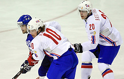 Robert Petrovicky of Slovakia (39) between Anders Bastiansen (20) and Lars Erik Spets (10)  at ice-hockey match Slovakia vs Norway at Preliminary Round (group C) of IIHF WC 2008 in Halifax, on May 03, 2008 in Metro Center, Halifax, Canada. (Photo by Vid Ponikvar / Sportal Images)