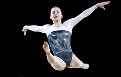 England's Lucy Stanhope competes in the floor event of Women's Team Final and Individual Qualification - Subdivision 4 at the Coomera Indoor Sports Centre during day two of the 2018 Commonwealth Games in the Gold Coast, Australia.