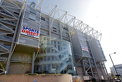 NEWCASTLE-UPON-TYNE, ENGLAND - Sunday, April 1, 2012: A general view outside St James' Park, now called the Sports Direct Arena, before the Premiership match between Newcastle United and Liverpool. (Pic by Vegard Grott/Propaganda)