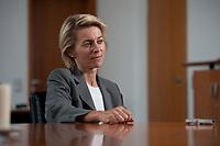 17 AUG 2010, BERLIN/GERMANY:<br /> Ursula von der Leyen, CDU, Bundesarbeitsministerin, waehrend einem Interview, in Ihrem Buero, Bundesministerium fuer Arbeit und Soziales<br /> IMAGE: 20100817-01-024