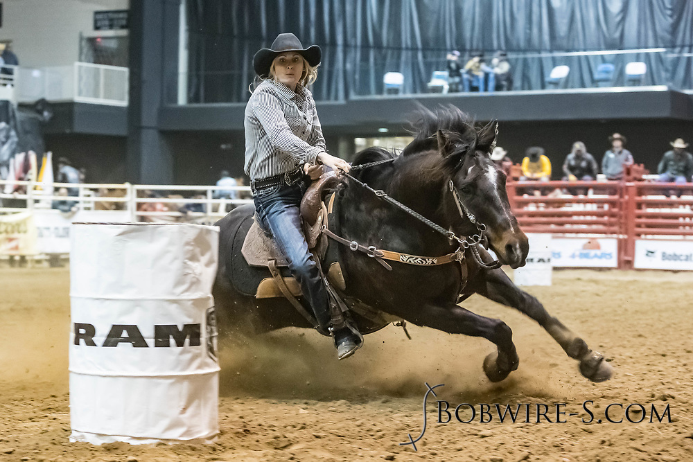 Barrel racer Ginalee Tiernay makes her run during slack at the Bismarck Rodeo on Saturday, Feb. 3, 2018. She had a time of 13.60 seconds. This photo and more from most runs are available at Bobwire-S.com.