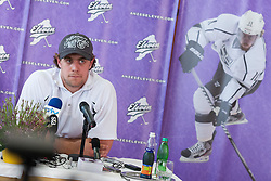 Anze Kopitar ice-hockey player NHL Champion at press conference when he arrived home after winning Stanley Cup at the end of season 2011/2012, on June 20, 2012, at airport Jozeta Pucnika, Brnik, Slovenia. (Photo by Grega Valancic / Sportida.com)