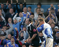Photo: Lee Earle.<br /> Portsmouth v Sunderland. The Barclays Premiership. 22/04/2006. Pompey's Matthew Taylor (R) celebrates after scoring from the spot.