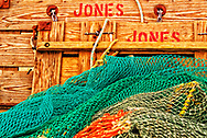 Detail of fishing nets and boards on Wanchese docks in Outer Banks, NC