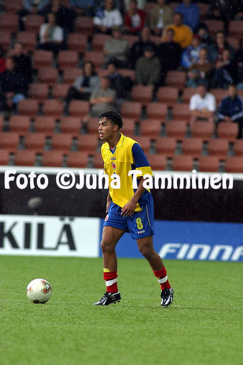 16.08.2003, T??l? Stadium, Helsinki, Finland.FIFA U-17 World Championship - Finland 2003.Match 11: Group A - China v Colombia.Anthony David Tapia Gil - Colombia.©Juha Tamminen