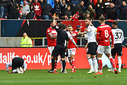 Antoine Semenyo (18) of Bristol City is shown a red card, sent off during the EFL Sky Bet Championship match between Bristol City and Derby County at Ashton Gate, Bristol, England on 27 April 2019.