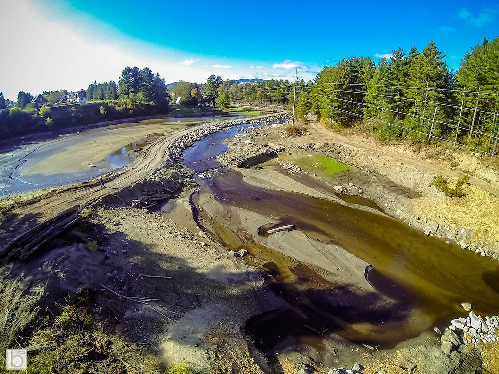 Aerial View of Mill Pond in Lake Placid, N.Y. undergoing renovations. Image taken with GoPro Hero 3 Black mounted on remote control quadcopter. (Photo/Todd Bissonette)