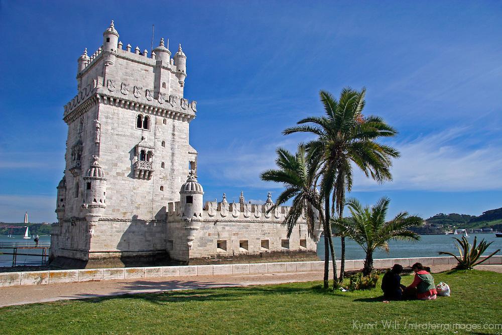 Europe, Portugal, Lisbon. Belém Tower, a UNESCO World Heritage Site in the Belem district of Lisbon.