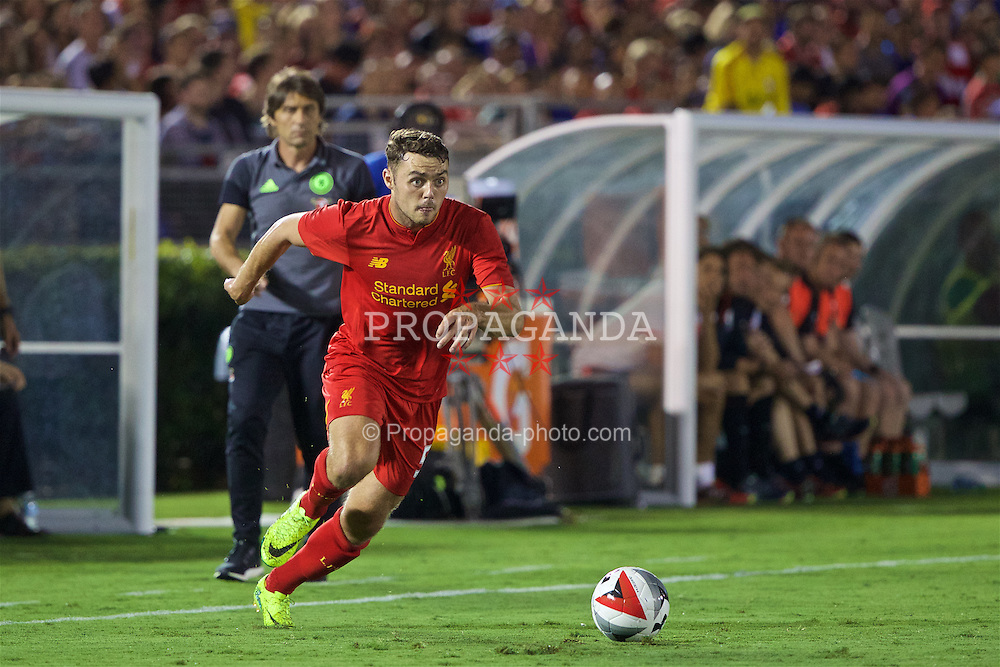 PASADENA, USA - Wednesday, July 27, 2016: Liverpool's Connor Randall in action against Chelsea during the International Champions Cup 2016 game on day seven of the club's USA Pre-season Tour at the Rose Bowl. (Pic by David Rawcliffe/Propaganda)