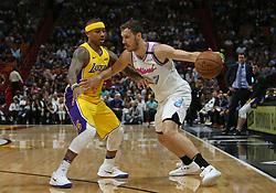 March 1, 2018 - Miami, FL, USA - The Miami Heat's Goran Dragic, right, drives against the Los Angeles Lakers' Isaiah Thomas during the first quarter at the AmericanAirlines Arena in Miami on Thursday, March 1, 2018. The Lakers won, 131-113. (Credit Image: © David Santiago/TNS via ZUMA Wire)